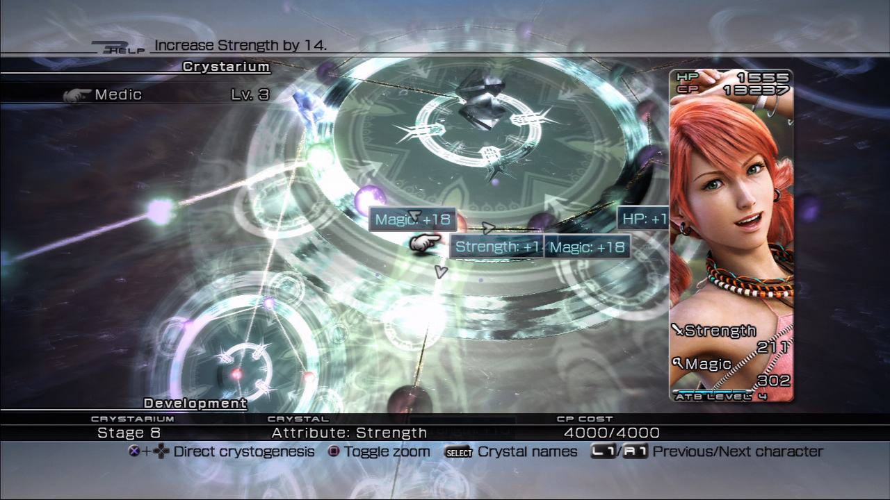 "The development system is similar to that of Final Fantasy X's sphere grid system, taking place along a grid called the ""Crystarium"" which allows the player to unlock skills and attribute enhancements with hard earned ""Crystarium Points"" (CP) gathered from battle."