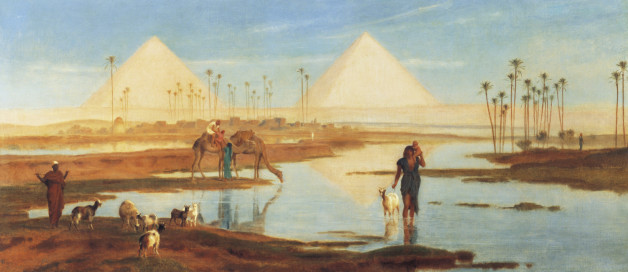EGYPT, CIRCA 1863: A view of the Pyramids. Artist b. 1822 d. 1904 (Photo by Frederick Goodall/Fine Art Photographic/Getty Images)