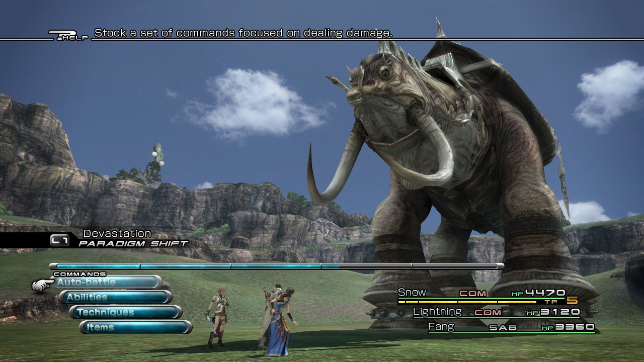 Unlike the twelfth entry, Final Fantasy XIII returns to a more streamlined battle system and feels fluid and quick. It reminded me a lot of X-2's battle system, whilst having visible enemies in the field helps to merge this system with that introduced in 12.