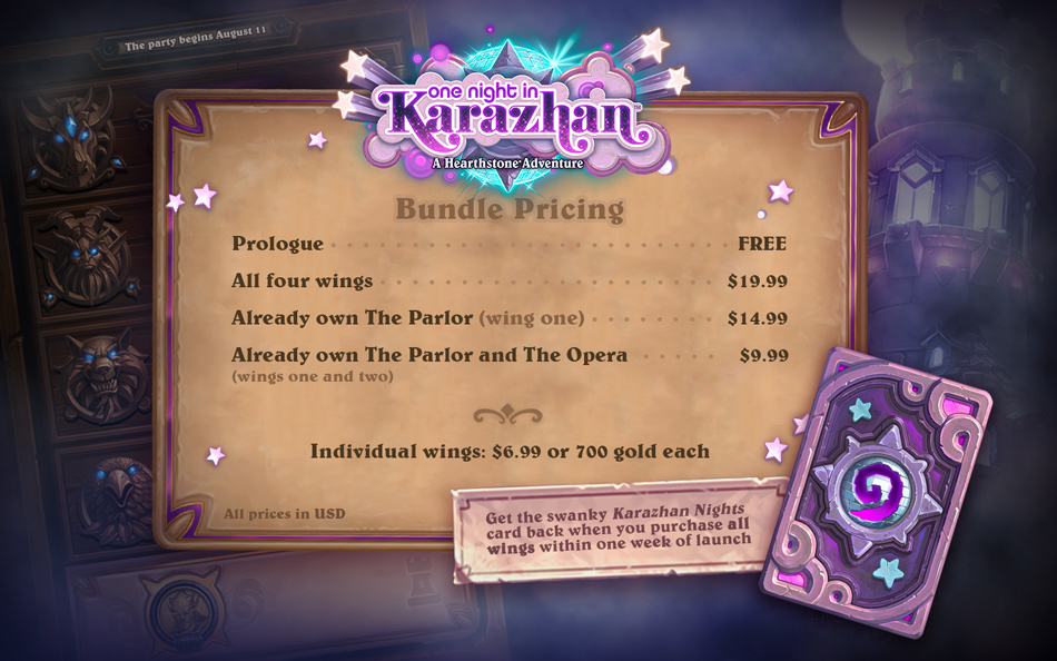One Night at Karazhan Pricing